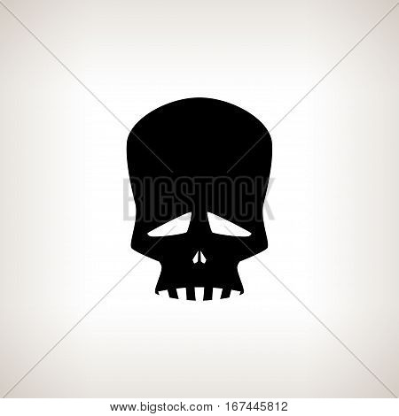 Sad Skull ,Silhouette Skull on a Light Background Isolated ,Death's-head ,Black and White Illustration