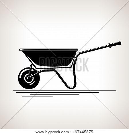 Wheelbarrow, Silhouette a Wheelbarrow on a Light Background, Agricultural Tool, Wheelbarrow Garden and Carpentery Equipment ,Black and White Illustration