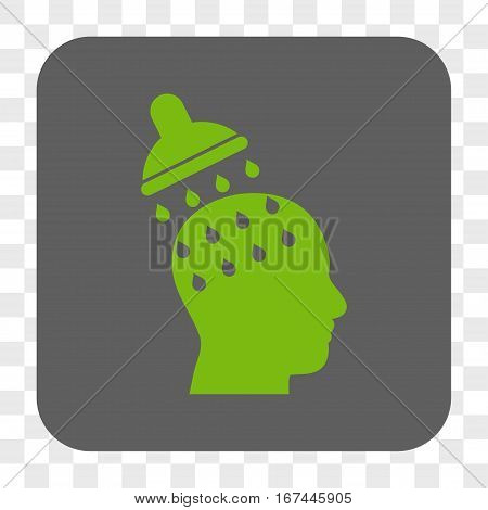 Brain Washing interface toolbar button. Vector icon style is a flat symbol in a rounded square button light green and gray colors chess transparent background.
