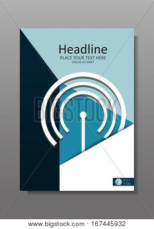 Business Cover design A4 with wi fi and IT theme. Annual report with geometrical figures and internet topic. Good for academic journals and magazines. Vector Illustration.