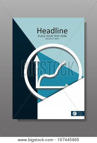 Business Cover design A4 with rise graphic. Financial Annual report with geometrical figures. Good for academic journals and magazines banners conference. Vector Illustration.