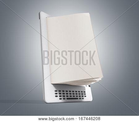 Blank E-book Reader 3D Render Image On Gray Gradient