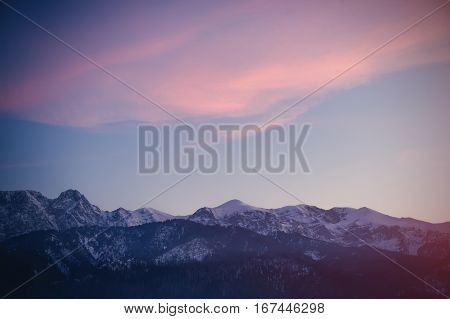 View on winter mountains Tatry in Poland