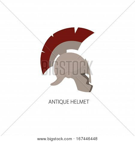 Antiques Roman or Greek Helmet Isolated on White, Helmet with a Red Crest of Feathers or Horsehair with Slits for the Eyes and Mouth