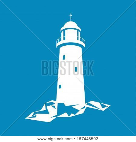 Lighthouse, Beacon Isolated on Blue, Lighthouse Stands on Rocks