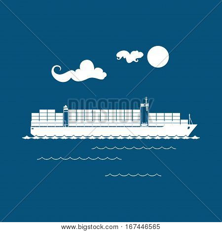 Cargo Container Ship Isolated on Blue, Industrial Marine Vessel with Containers on Board, International Freight Transportation