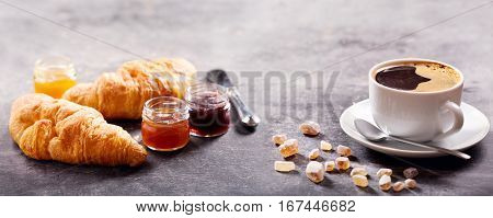 Breakfast With Cup Of Coffee, Croissant And Fruit Jam