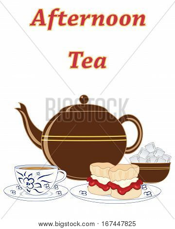 an illustration of an advert for an english cream tea with teapot sugar and jam and cream scones on a white background
