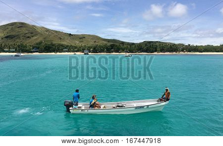 Tourists Arrive To Resort On One Of The Mamanucas Islands Fiji