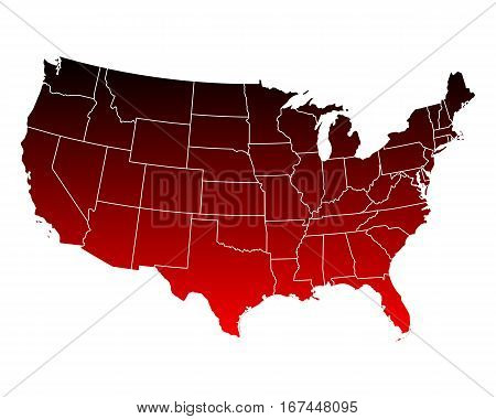 Detailed and accurate illustration of map of USA