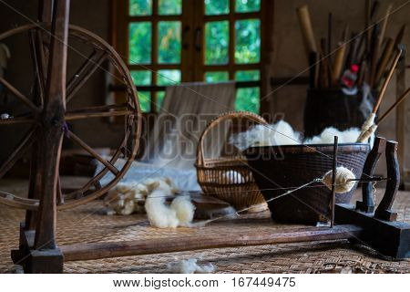 Traditional Loom For Wool Clothes. Soft Focus
