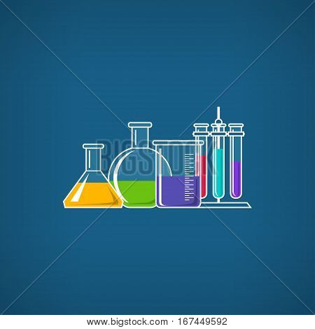 Flasks Beakers and Test-tube, Chemical Laboratory Equipment on Blue Background, Chemistry Lab