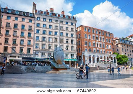 LYON, FRANCE - MAY 19: Louis Pradel square near Opera and fountain sculpture.