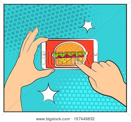 Comic Phone With Halftone Shadows And Hamburger. Hand Holding Smartphone With Buy Online Internet Sh