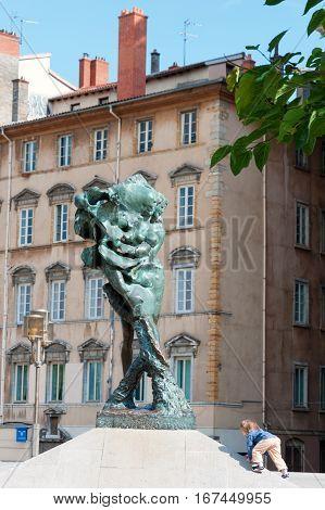 Lyon, France - MAY 19: Sculpture on Louis Pradel square, Lyon France
