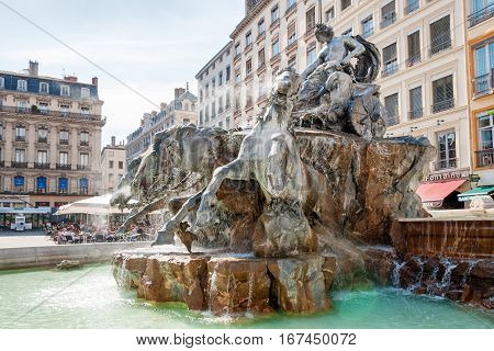 LYON, FRANCE - MAY 19: Symbol of the city, famous Bartholdi fountain on the Terreaux square