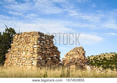 Ruins of an old house built by settlers in the American Southwest