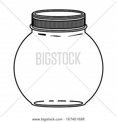 silhouette circular glass container with lid vector illustration