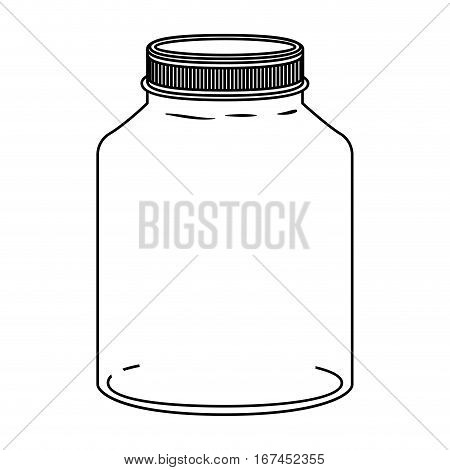 silhouette glass wide container with lid vector illustration