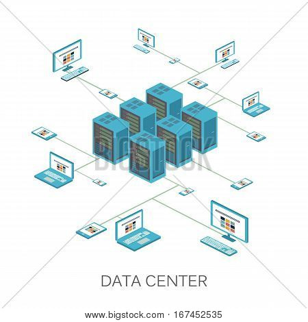 Isometric vector illustration. Data center icon for design and infographics Web Site.