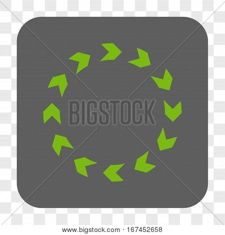 Circulation interface toolbar button. Vector icon style is a flat symbol inside a rounded square button light green and gray colors chess transparent background.