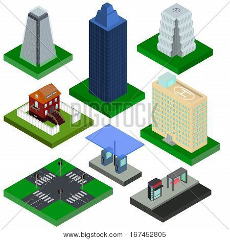 Isometric elements for city houses gas station and crossroad with traffic lights in vector