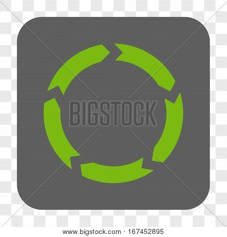 Circulation interface toolbar button. Vector icon style is a flat symbol on a rounded square button light green and gray colors chess transparent background.