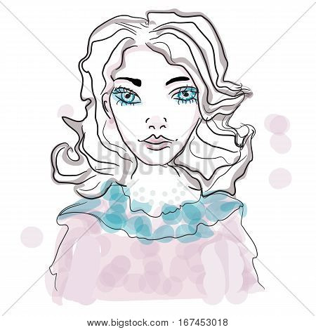 portrait of a genteel girl, vector woman cute face, illustration hand drawn