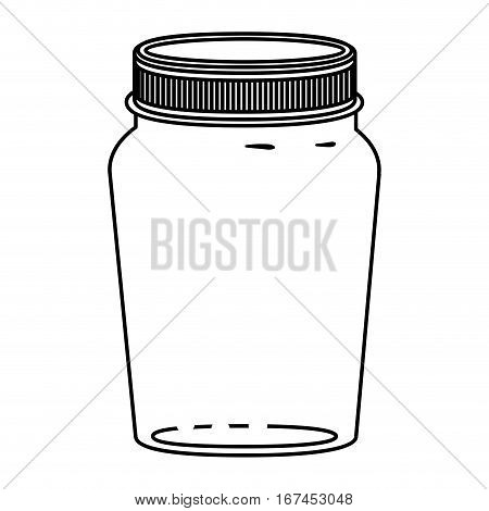 silhouette glass container of jam with lid vector illustration