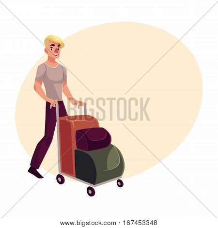 Young man pushing airport trolley with luggage, suitcases, bags, cartoon illustration on background with place for text. Young handsome man going on vacation, pushing luggage trolley in the airport