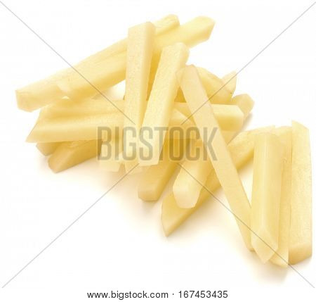 Raw Potato sliced strips prepared for French fries isolated on white background