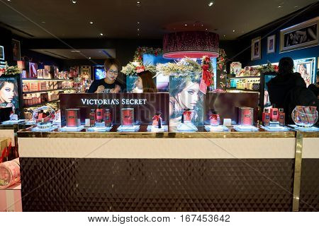 HONG KONG - CIRCA NOVEMBER, 2016: Victoria's Secret store in Hong Kong. Victoria's Secret is an American designer, manufacturer and marketer of women's premium lingerie, womenswear and beauty products