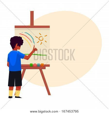 Little boy painting sun and rainbow on easel with his fingers, cartoon vector on background with place for text. Teenage boy standing and finger-painting, drawing, painting sun and rainbow on easel