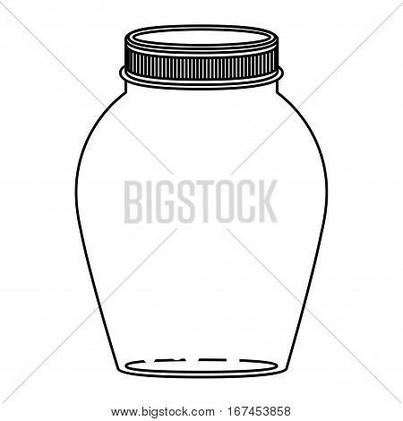 silhouette rounded glass container with lid vector illustration