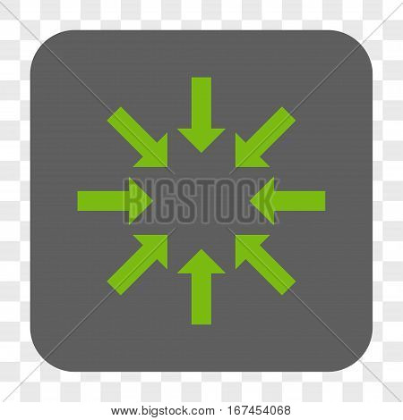 Collapse Arrows interface toolbar button. Vector icon style is a flat symbol inside a rounded square button light green and gray colors chess transparent background.