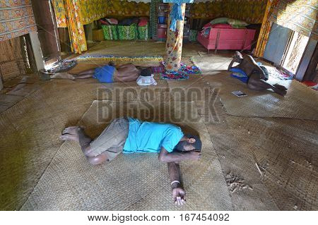 Indigenous Fijian Men Lay Wasted On The Floor After Drinking Lots Of Kava