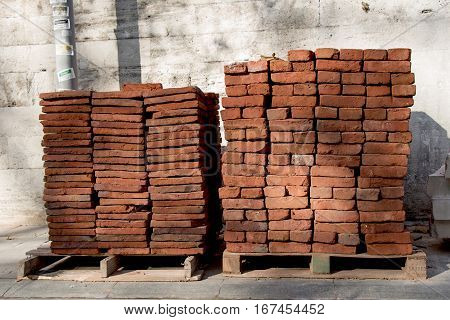Pile of brick block used for industrial in residential building