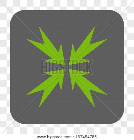 Compression Arrows interface toolbar button. Vector icon style is a flat symbol inside a rounded square button light green and gray colors chess transparent background.