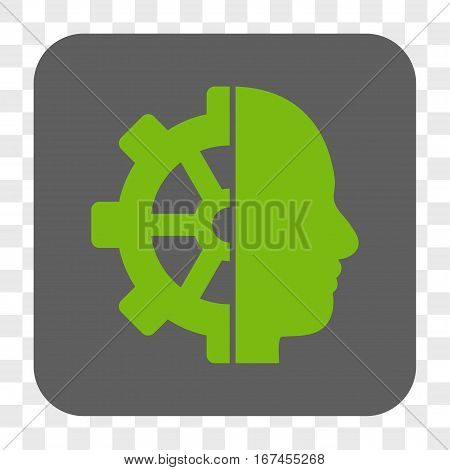 Cyborg Gear interface toolbar button. Vector icon style is a flat symbol in a rounded square button light green and gray colors chess transparent background.