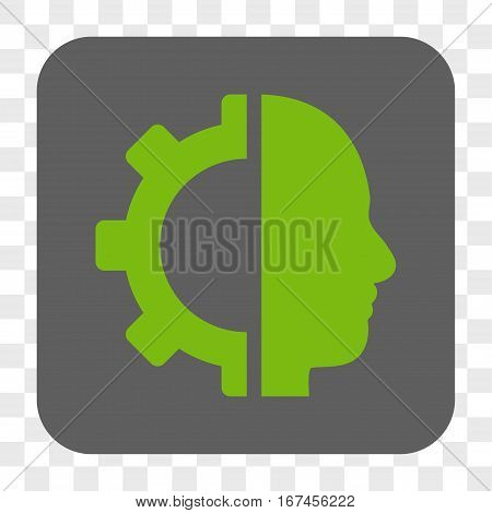 Cyborg Gear interface toolbar button. Vector icon style is a flat symbol inside a rounded square button light green and gray colors chess transparent background.