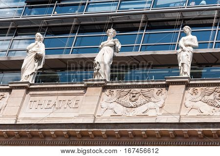 Sculptures of muses on fronton, Nouvel Opera House. Lyon, France