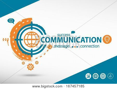 Communication And Marketing Concept On Target Icon Background.