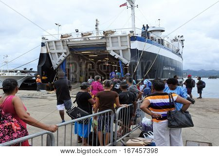 Passengers Boarding On Inter Island Ferry Between The Major Islands Of Fiji