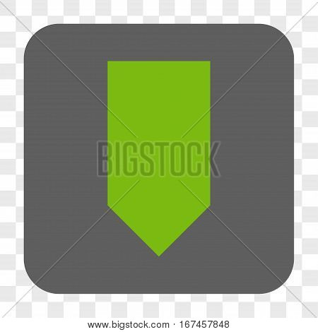 Direction Down interface toolbar button. Vector icon style is a flat symbol on a rounded square button light green and gray colors chess transparent background.
