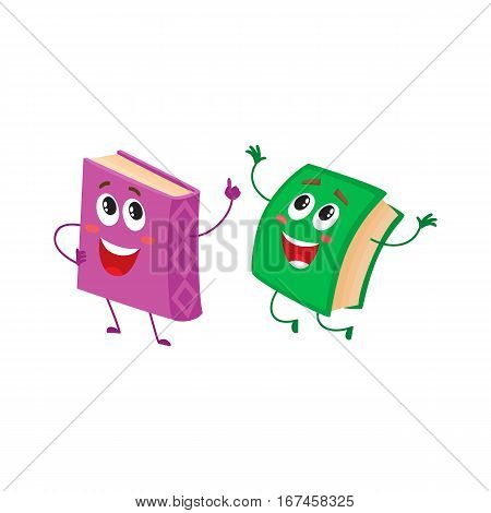 Two funny book characters running happily together, cartoon vector illustration isolated on white background. purple and green books hurrying, smiling, running together, school, education concept