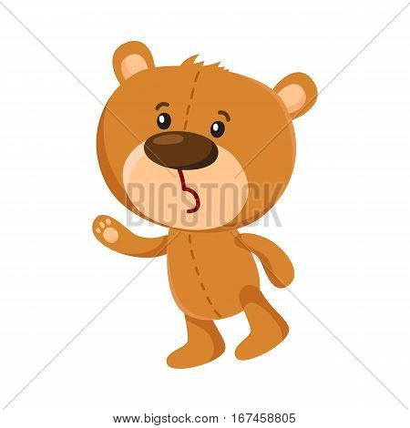 Cute traditional, retro style teddy bear character unhappily surprised, cartoon vector illustration isolated on white background. Teddy bear character sad, disappointed, unhappily surprised
