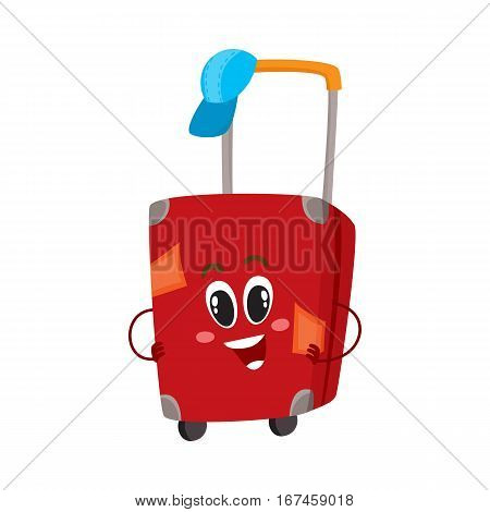 Cute and funny big red suitcase character with many labels, travelling concept, cartoon vector illustration isolated on white background. Traveler suitcase character, mascot, holiday, vacation symbol