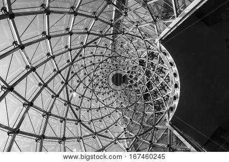 Architecture detail Modern Whirl Steel Glass facade design Structure