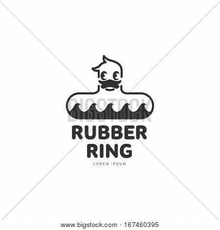 Logo template with rubber duck swimming ring, front view, vector illustration isolated on white background. Graphic dack shaped rubber ring with stylied waves logotype, logo design