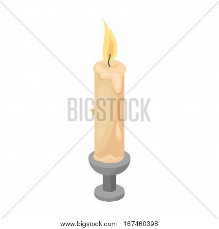 Candle icon in cartoon design isolated on white background. Funeral ceremony symbol stock vector illustration.